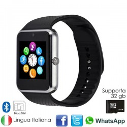DAVILIS® GT08 Smartwatch - Cassa Silver Bracciale nero