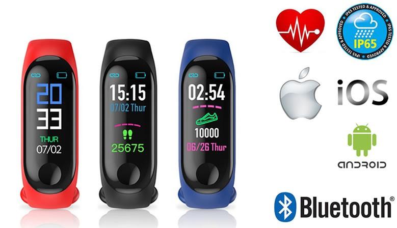 DAVILIS® Smartwatch Cardiofrequenzimetro da polso Sport bluetooth GPS Contapassi Calorie